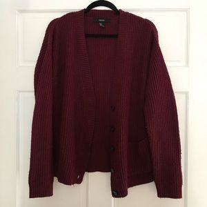 Forever 21 Cranberry Maroon Buttoned Cardigan